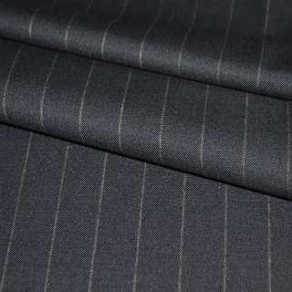 Тканина костюмна синя темна в широку смужку