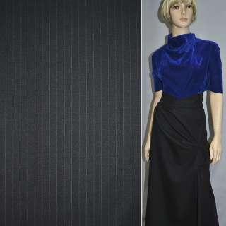 Шерсть костюмна чорна в вузьку фіолетову смужку ш.150