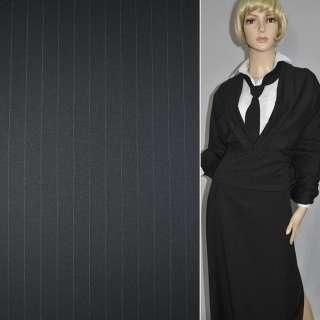 Шерсть костюмна чорна в вузьку смужку ш.150