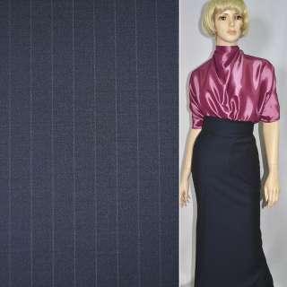 Тканина костюмна темно-синя в вузьку світлу смужку, ш.140