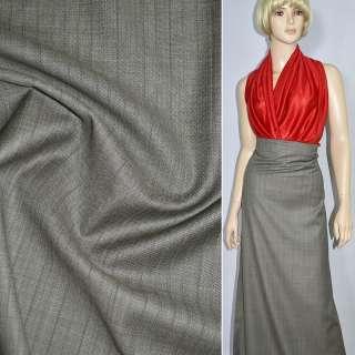 Тканина костюмна сіра світла в вузьку бежево-бордову смужку, ш.150