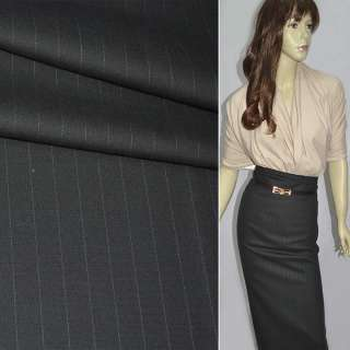 Тканина костюмна темно-сіра в смужку