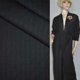 Тканина костюмна чорна в чорну смужку, ш.156