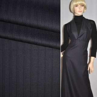Тканина костюмна темно-синя в вузьку смужку CERRUTI італія ш.154