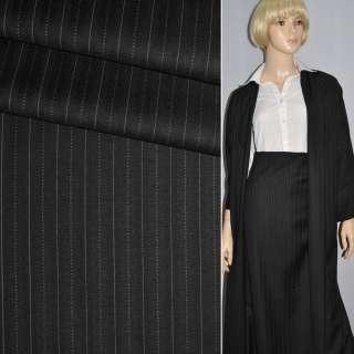 Тканина костюмна чорна в вузьку світлу смужку GUABELLO Італія ш.155