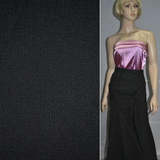 Тканина костюмна чорна в дрібну світлу смужку, ш.158