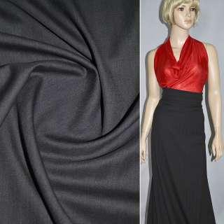 Тканина костюмна чорна в широку смужку, ш.156