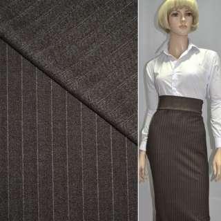 Тканина костюмна коричнева в дрібну смужку, ш.145