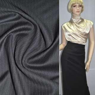Тканина костюмна чорна в чорну смужку (HUGO BOSS), ш.150