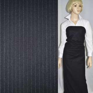 Тканина костюмна чорна в світлу смужку, ш.150