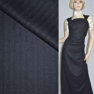 Тканина костюмна темно-синя в світлу смужку, ш.160
