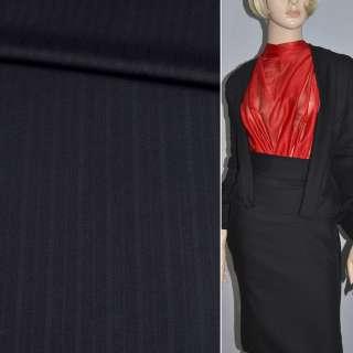 Тканина костюмна чорна в вузькі смужки (HUGO BOSS), ш.150