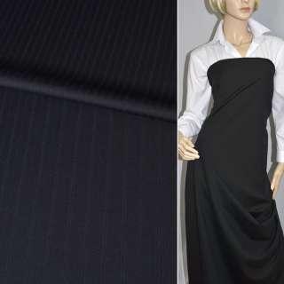 Тканина костюмна чорна в вузькі подвійні смужки (HUGO BOSS), ш.150
