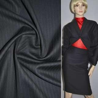 Шерсть костюмная в полоску черная, ш.150