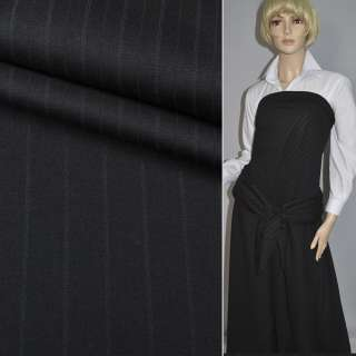 Шерсть костюмная в полоску серую черная HUGO BOSS, ш.150