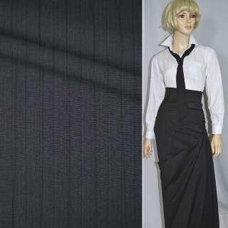 Тканина костюмна асфальт в чорну смужку (HUGO BOSS), ш.154