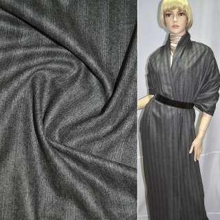 Тканина костюмна сіра в широку світлу смужку, ш.154