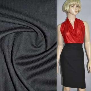 Тканина костюмна чорна в чорну смужку (HUGO BOSS), ш.149