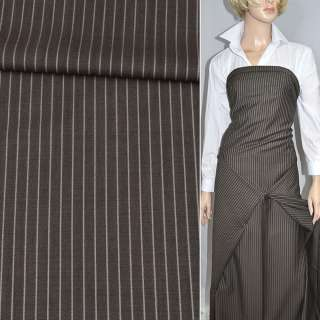 Тканина костюмна коричнева в світлу смужку (HUGO BOSS), ш.153