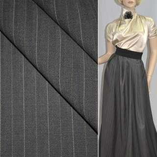 Тканина костюмна сіро-коричнева в смужку (HUGO BOSS), ш.154