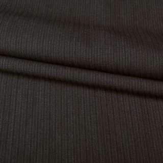 Тканина костюмна коричнева в темно-коричневу смужку, ш.153