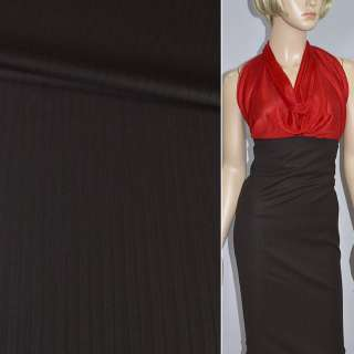 Тканина костюмна темно-коричнева в смужку (HUGO BOSS), ш.150