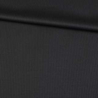 Шерсть костюмна чорна в тонку смужку, ш.155
