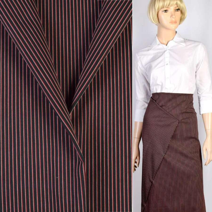 Ткань костюмная синяя темная в узкую красно-белую полоску, ш.150