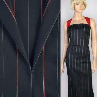 Ткань костюмная синяя темная в тонкую красную и белую полоску, ш.140