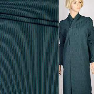 Ткань костюмная Hackenberg черная в тонкую зеленую и синюю полоску, ш.170