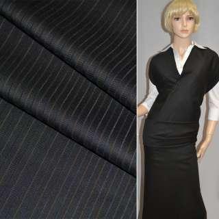 Ткань костюмная черная в бежевые полоски Германия ш.158
