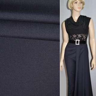 Ткань костюмная темно-синяя в узкую полоску Германия ш.152