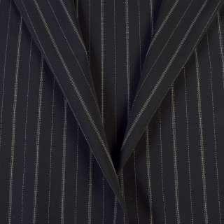 Ткань костюмная черная в тонкую белую полоску с пунктиром, ш.156