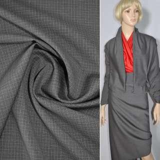Тканина костюмна сіра в дрібну клітку, ш.160
