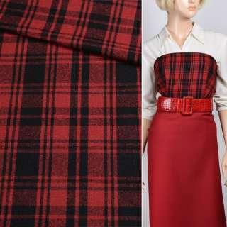 Шерсть костюмна червона в чорну клітинку, ш.152