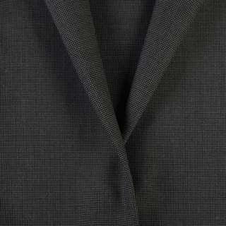 Ткань костюмная черная в мелкий серый узор, ш.155