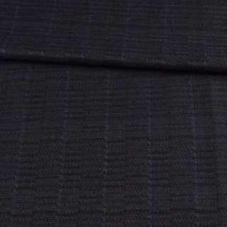 Шерсть жаккардовая черная в серые прямоугольники ш.158
