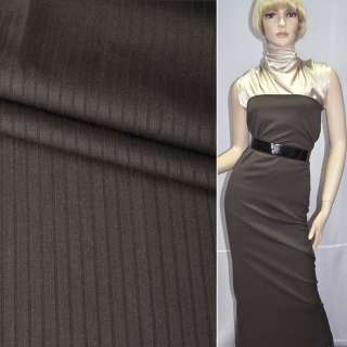 Тканина костюмна коричнева в смужку, ш.160