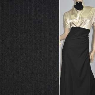 Тканина костюмна чорна в смужку, ш.150