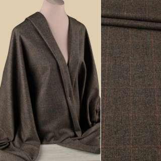 Полушерсть костюмная HARRIS TWEED коричнево-бежевая в оранжевую тонкую клетку ш.155
