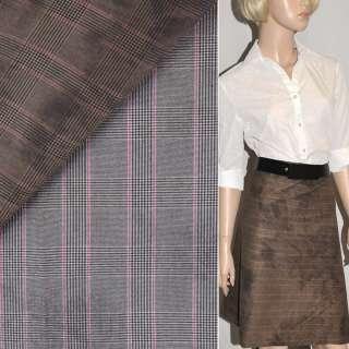 Тканина костюмна світло-коричнево-сіра в клітку стрейч, ш.120