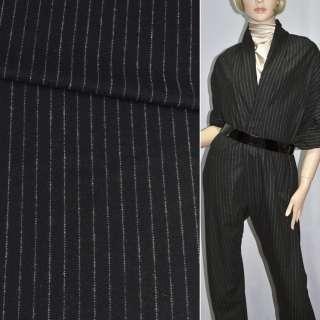 Ткань костюмная черная в узкую белую полоску (HUGO BOSS), ш.150