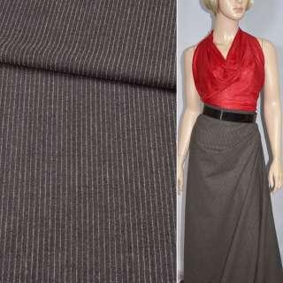 Ткань костюмная коричневая в узкую белую полоску (HUGO BOSS), ш.150