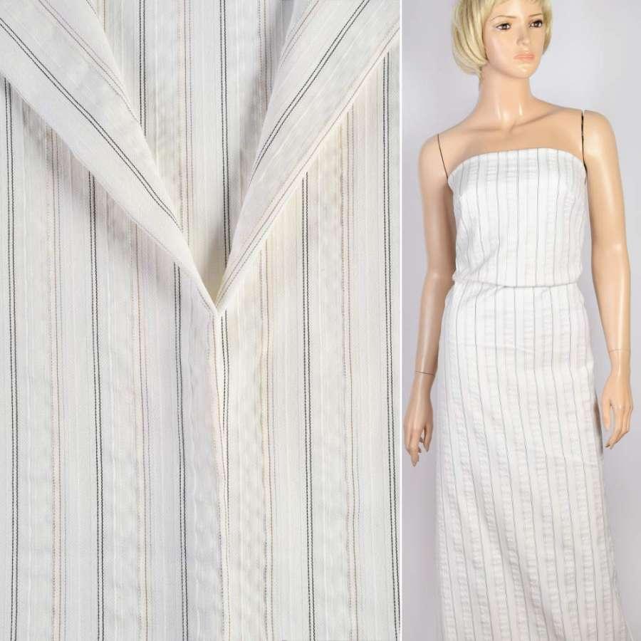 Ткань костюмная белая в черную и бежевую полоску, ш.150