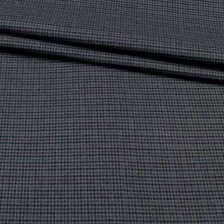 Ткань костюмная гусиная лапка серая в черно-бордовую мелкую клетку, ш.150