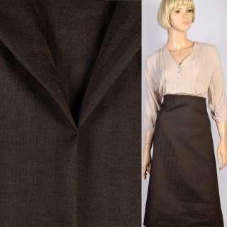 Тканина костюмна чорно-коричнева в смужку-ялинку, ш.150