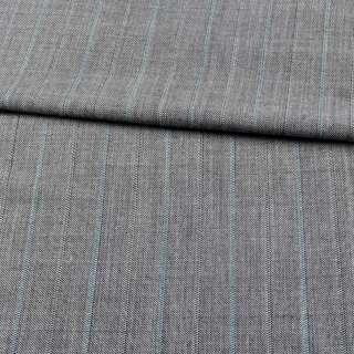 Лен с шерстью костюмный серый в зеленые полоски ш.155