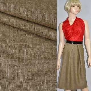 Тканина костюмна гірчично-коричнева в дрібну ялинку, ш.158