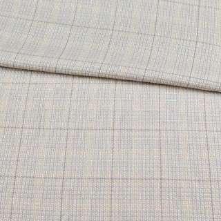 Шерсть костюмная серо-голубая в молочную клетку ш.155