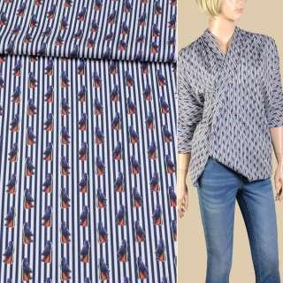 Коттон стрейч белый в синюю полосу и красно-синие кроссовки ш.145